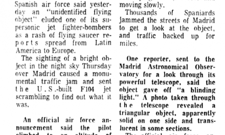 UFO Eludes Supersonic Fighter-Bomber, Reports Air Force | UFO CHRONICLE –1968