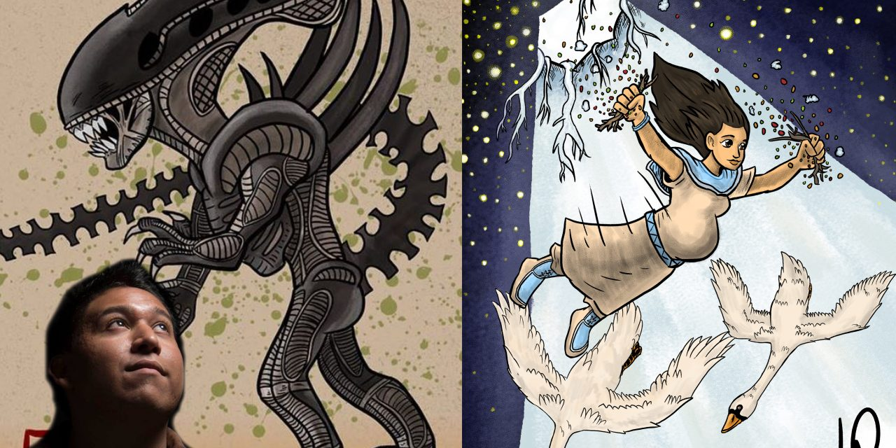 Mohawk artist creates traditional and story art with a bit of 'Star Wars' and 'Aliens' thrown in too – IndianCountryToday.com