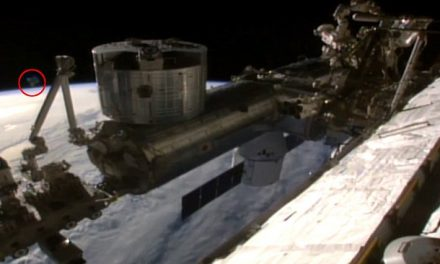 Moment when a UFO appears next to the International Space Station captured on live feed video