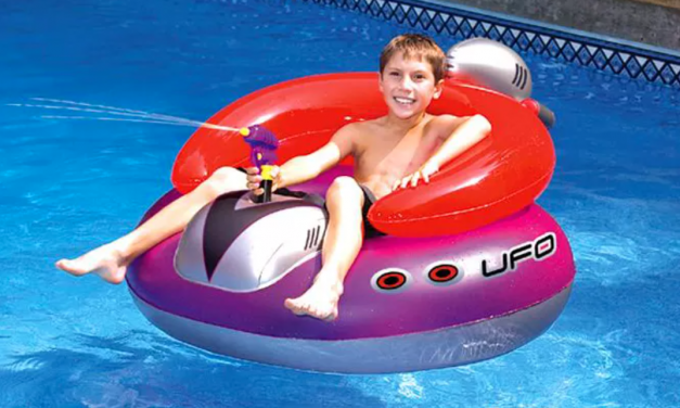 You Can Get Your Own Inflatable UFO Lounge Chair That Comes With An Attached Squirt Gun