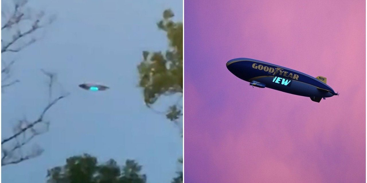 """""""It's a spaceship!"""" New Jersey UFO in viral videos turns out to be your basic Goodyear blimp"""