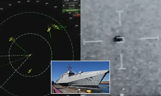 Moment USS Omaha is SWARMED by 14 UFOs on radar in 2019   Daily Mail Online